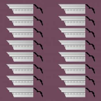"spec-<PRE> Ornate Cornice White Urethane Saint Denis Design 16 Pieces Totaling 1504"" Length</PRE>"