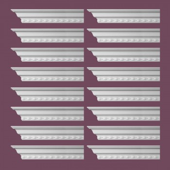 Renovators Supply Cornice White Urethane Exeter Ornate Design 16 Pieces Totaling 1536 Length White PrePrimed Urethane Crown Cornice Molding Cornice Crown Home Depot Ekena Millwork Molding Wall Ceiling Corner Cornice Crown Cove Molding