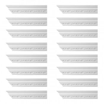 Renovators Supply Ornate Cornice White Urethane Elisabetta Design 16 Pieces Totaling 1536 Length White PrePrimed Urethane Crown Cornice Molding Cornice Crown Home Depot Ekena Millwork Molding Wall Ceiling Corner Cornice Crown Cove Molding