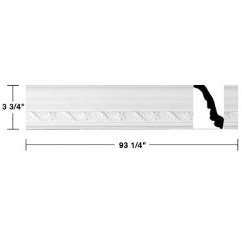 "spec-<PRE> Cornice White Urethane Emma Design 16 Pieces Totaling 1488"" Length</PRE>"