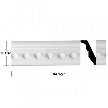 "spec-<PRE> Ornate Cornice White Urethane Golfini Design 12 Pieces Totaling 1134"" Length</PRE>"