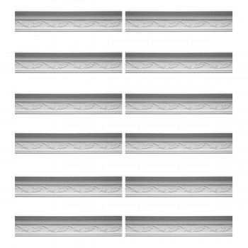 Renovators Supply Cornice White Urethane Whitehead Ornate Design 12 Pieces Totaling 1153.5 Length White PrePrimed Urethane Crown Cornice Molding Cornice Crown Home Depot Ekena Millwork Molding Wall Ceiling Corner Cornice Crown Cove Molding