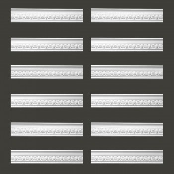 Renovators Supply Ornate White Urethane Foam Emperial Cornice  12 Pieces Totaling 1135.5 Length White PrePrimed Urethane Crown Cornice Molding Cornice Crown Home Depot Ekena Millwork Molding Wall Ceiling Corner Cornice Crown Cove Molding