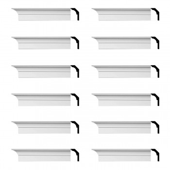 Renovators Supply Cornice White Urethane Waldorf Simple Design 12 Pieces Totaling 1128 Length White PrePrimed Urethane Crown Cornice Molding Cornice Crown Home Depot Ekena Millwork Molding Wall Ceiling Corner Cornice Crown Cove Molding