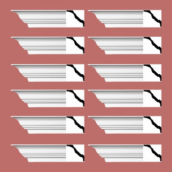 Renovators Supply Cornice White Urethane Princess Anne  Design 12 Pieces Totaling 1128 Length White PrePrimed Urethane Crown Cornice Molding Cornice Crown Home Depot Ekena Millwork Molding Wall Ceiling Corner Cornice Crown Cove Molding