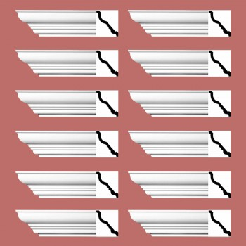 <PRE>Renovator's Supply Cornice White Urethane Bennington Simple Design 12 Pieces Totaling 1128inch Length</PRE>zoom2