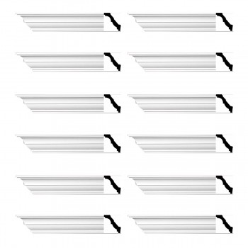 Renovators Supply Cornice White Urethane Holly Springs  Design 12 Pieces Totaling 1128 Length White PrePrimed Urethane Crown Cornice Molding Cornice Crown Home Depot Ekena Millwork Molding Wall Ceiling Corner Cornice Crown Cove Molding