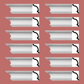 Renovators Supply Cornice White Urethane Hilton Head Simple Design 12 Pieces Totaling 1152 Length White PrePrimed Urethane Crown Cornice Molding Cornice Crown Home Depot Ekena Millwork Molding Wall Ceiling Corner Cornice Crown Cove Molding