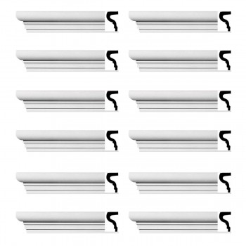 Renovators Supply Cornice White Strasbourg Design 12 Pieces Totaling 1152 Length White PrePrimed Urethane Crown Cornice Molding Cornice Crown Home Depot Ekena Millwork Molding Wall Ceiling Corner Cornice Crown Cove Molding