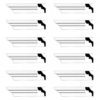 Renovators Supply Cornice White Urethane Holbrook Simple Design 12 Pieces Totaling 1152 Length White PrePrimed Urethane Crown Cornice Molding Cornice Crown Home Depot Ekena Millwork Molding Wall Ceiling Corner Cornice Crown Cove Molding