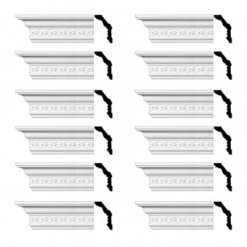 Renovators Supply  Ornate Cornice White Urethane Design 12 Pieces Totaling 1128 Length White PrePrimed Urethane Crown Cornice Molding Cornice Crown Home Depot Ekena Millwork Molding Wall Ceiling Corner Cornice Crown Cove Molding