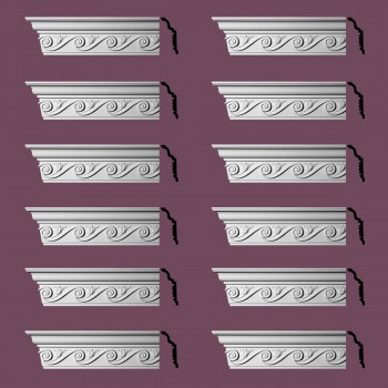 Renovators Supply Ornate Cornice White Urethane Lilith Design 12 Pieces Totaling 1152 Length White PrePrimed Urethane Crown Cornice Molding Cornice Crown Home Depot Ekena Millwork Molding Wall Ceiling Corner Cornice Crown Cove Molding