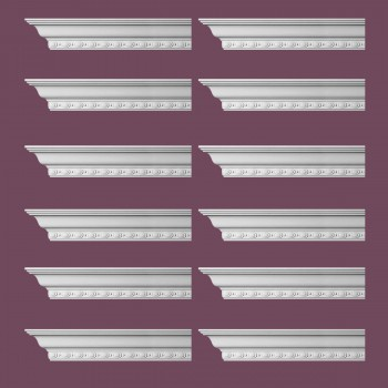 "spec-<PRE> Cornice White Urethane Exeter Ornate Design 12 Pieces Totaling 1152"" Length</PRE>"