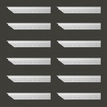 Renovators Supply Ornate Cornice White Urethane Lunetta Design 12 Pieces Totaling 1152 Length White PrePrimed Urethane Crown Cornice Molding Cornice Crown Home Depot Ekena Millwork Molding Wall Ceiling Corner Cornice Crown Cove Molding