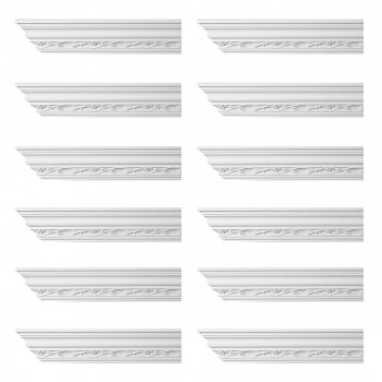 Renovators Supply Ornate Cornice White Urethane Elisabetta Design 12 Pieces Totaling 1152 Length White PrePrimed Urethane Crown Cornice Molding Cornice Crown Home Depot Ekena Millwork Molding Wall Ceiling Corner Cornice Crown Cove Molding