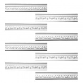 Renovators Supply Ornate White Urethane Foam Emperial Cornice Design 8 Pieces Totaling 757 Length White PrePrimed Urethane Crown Cornice Molding Cornice Crown Home Depot Ekena Millwork Molding Wall Ceiling Corner Cornice Crown Cove Molding