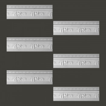 Renovators Supply Cornice White Urethane Tropicana Ornate Design 6 Pieces Totaling 573 Length White PrePrimed Urethane Crown Cornice Molding Cornice Crown Home Depot Ekena Millwork Molding Wall Ceiling Corner Cornice Crown Cove Molding