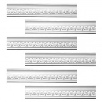 Renovators Supply Ornate White Urethane Foam Emperial Cornice  6 Pieces Totaling 567.75 Length White PrePrimed Urethane Crown Cornice Molding Cornice Crown Home Depot Ekena Millwork Molding Wall Ceiling Corner Cornice Crown Cove Molding