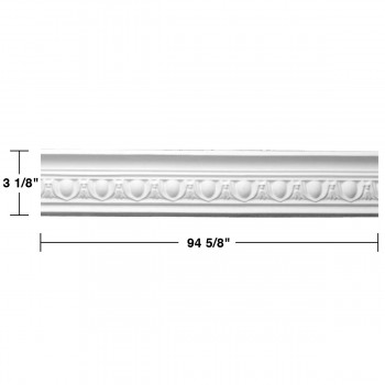 "spec-<PRE> Ornate White Urethane Foam Emperial Cornice  6 Pieces Totaling 567.75"" Length</PRE>"