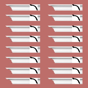 "spec-<PRE> Cornice White Urethane Madison Simple Design 16 Pieces Totaling 1520"" Length</PRE>"