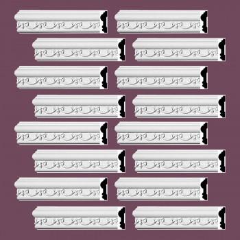 Renovators Supply Crown Molding White Urethane Kenton Ornate Design 16 Pieces Totaling 1504 Length White PrePrimed Urethane Crown Cornice Molding Cornice Crown Home Depot Ekena Millwork Molding Wall Ceiling Corner Cornice Crown Cove Molding
