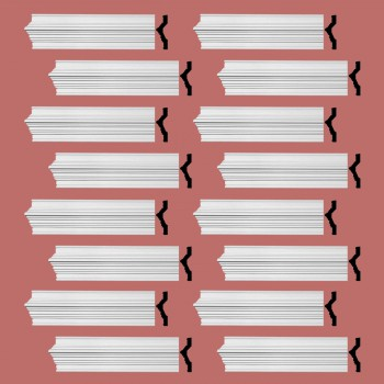 Renovators Supply Crown Molding White Urethane Chalmers  Design 16 Pieces Totaling 1520 Length White PrePrimed Urethane Crown Cornice Molding Cornice Crown Home Depot Ekena Millwork Molding Wall Ceiling Corner Cornice Crown Cove Molding