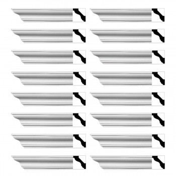 Renovators Supply Simple Cornice White Urethane Halifax Design 16 Pieces Totaling 1536 Length White PrePrimed Urethane Crown Cornice Molding Cornice Crown Home Depot Ekena Millwork Molding Wall Ceiling Corner Cornice Crown Cove Molding