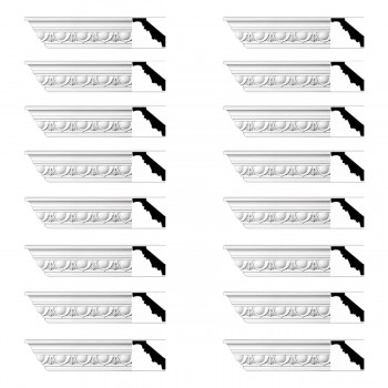 <PRE>Renovator's Supply Cornice White Urethane Dunkirk Design 16 Pieces Totaling 1504inch Length</PRE>zoom1