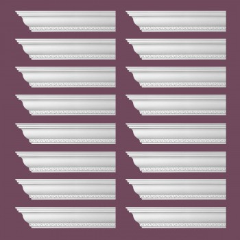 <PRE>Renovator's Supply Ornate Cornice White Urethane Corinth Design 16 Pieces Totaling 1504inch Length</PRE>zoom2