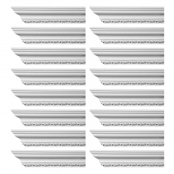 Renovators Supply Ornate Cornice White Urethane Geneve Design 16 Pieces Totaling 1504 Length White PrePrimed Urethane Crown Cornice Molding Cornice Crown Home Depot Ekena Millwork Molding Wall Ceiling Corner Cornice Crown Cove Molding