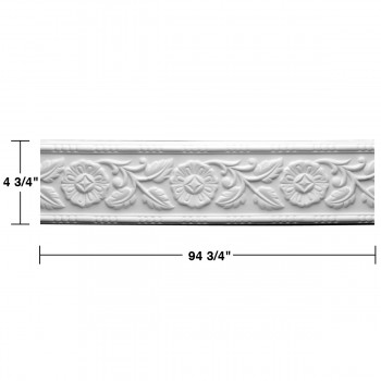 "spec-<PRE>Renovator's Supply Cornice White Urethane Leaf Design 12 Pieces Totaling 1128"" Length</PRE>"