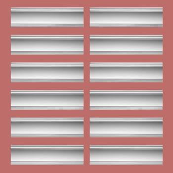 """spec-<PRE>Renovator's Supply Cornice White Urethane Golder Design 12 Pieces Totaling 1140"""" Length</PRE>"""
