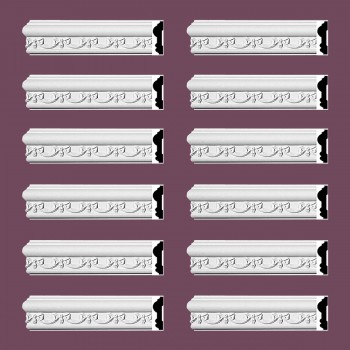 Renovators Supply Crown Molding White Urethane Kenton Ornate Design 12 Pieces Totaling 1128 Length White PrePrimed Urethane Crown Cornice Molding Cornice Crown Home Depot Ekena Millwork Molding Wall Ceiling Corner Cornice Crown Cove Molding