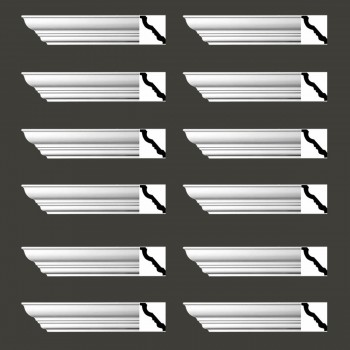 <PRE>Renovator's Supply Cornice White Urethane Haverhill Design 12 Pieces Totaling 1128inch Length</PRE>zoom2