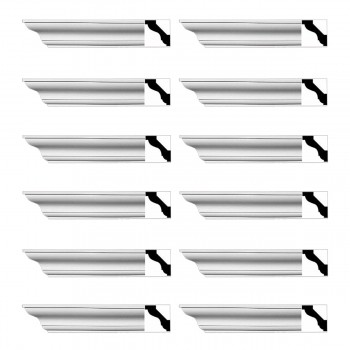 Renovators Supply Simple Cornice White Urethane Halifax Design 12 Pieces Totaling 1152 Length White PrePrimed Urethane Crown Cornice Molding Cornice Crown Home Depot Ekena Millwork Molding Wall Ceiling Corner Cornice Crown Cove Molding