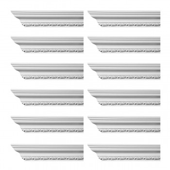 Renovators Supply Ornate Cornice White Urethane Geneve Design 12 Pieces Totaling 1128 Length White PrePrimed Urethane Crown Cornice Molding Cornice Crown Home Depot Ekena Millwork Molding Wall Ceiling Corner Cornice Crown Cove Molding