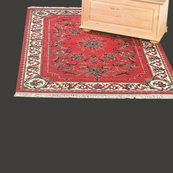 "spec-<PRE>Rectangular Area Rug 7' 6"" x  3' 3"" Red Polypropylene </PRE>"