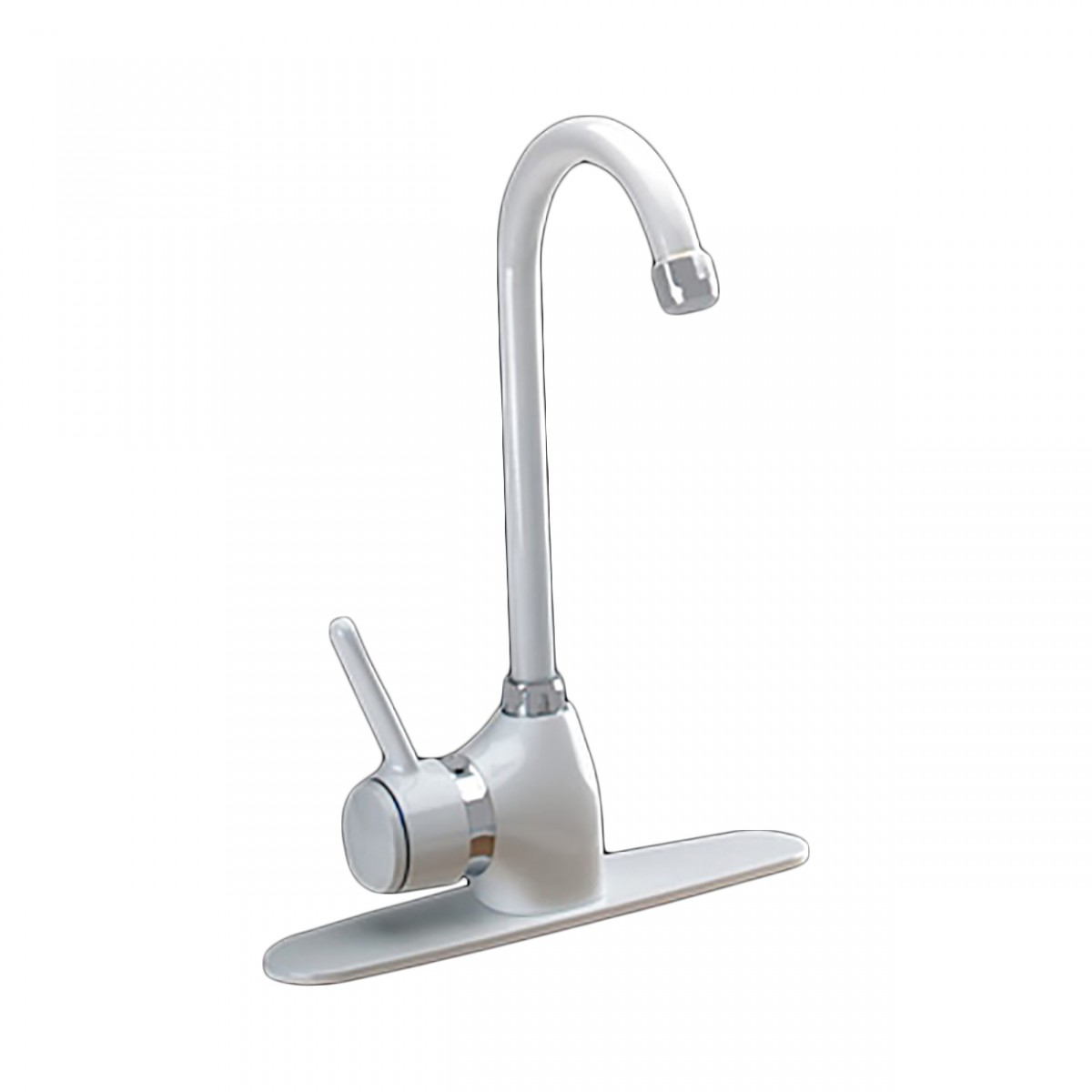 Faucet Gooseneck White Classic Single Hole 1 Handle