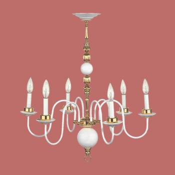 <PRE>Chandelier White Brass 6 Arm 27 H x 25 1/2 W''</PRE>zoom2