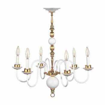 Chandelier White Brass 6 Arm 27 H x 25 1/2 W''99899grid