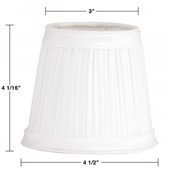 "spec-<PRE>Lamp Shade White Fabric 4 1/16"" Mini Clip On </PRE>"