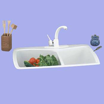 <PRE>Kitchen Sink White Carea Counter Double Sink </PRE>