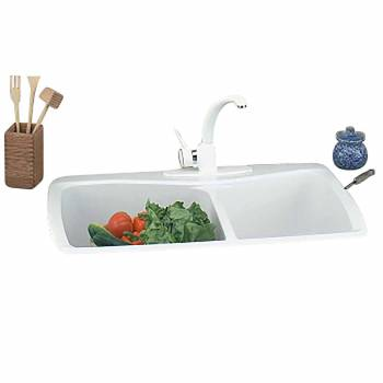 Kitchen Sink White Carea Counter Double Sink 99966grid