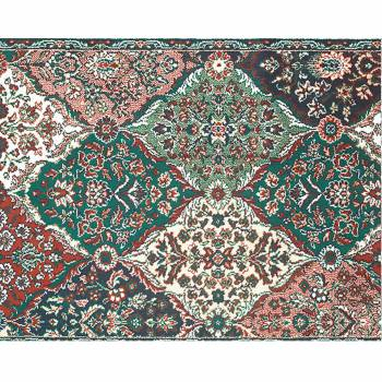 Rectangular Area Rug 6' x 4' Green Wool 99989grid